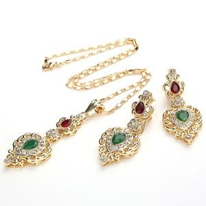 Emerald, Ruby & Cubic Zirconia Necklace Set RGL